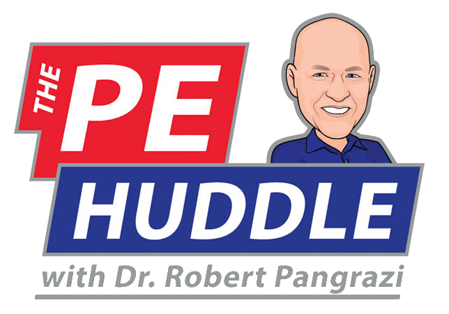 """PE Huddle Logo has """"The PE"""" in a red block on the top row with an illustrated photo of Dr. Robert Pangrazi. The second row says """"huddle"""" in a block of blue."""